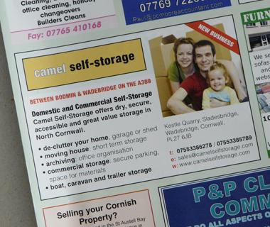 Camel Self-Storage Advert Design