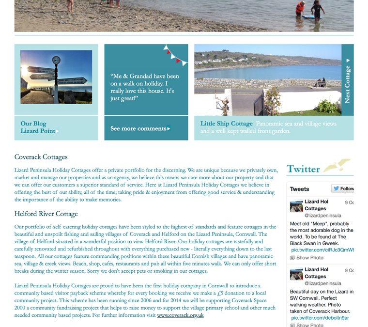 Website design for Lizard Holiday Cottages