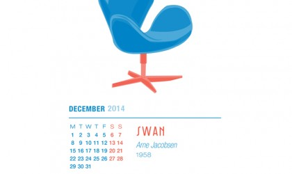 December 2014 Calendar featuring Arne Jacobsen's Swan Chair