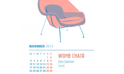 November 2014 Calendar featuring the Womb Chair by Eero Saarinen