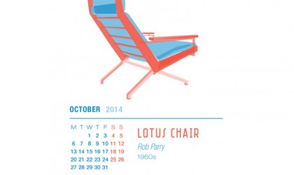 October 2014 Calendar featuring the Lotus chair by Rob Parry
