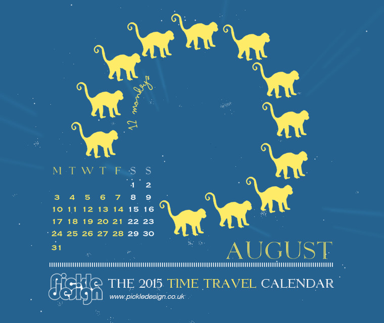 The August 2015 Time Travel Calendar featuring 12 Monkeys