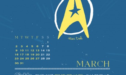 The March 2015 Time Travel Calendar featuring Star Trek