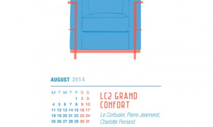 August 2014 Calendar featuring the LC2 Grand Confort chair