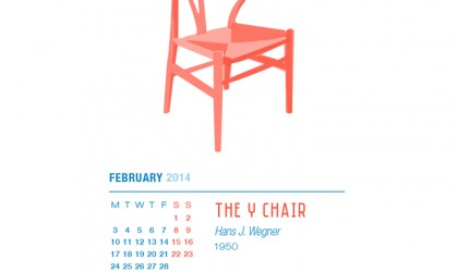 February 2014 Calendar featuring the Y Chair by Hans Wegner