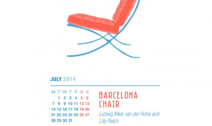 July 2014 Calendar featuring the Barcelona Chair