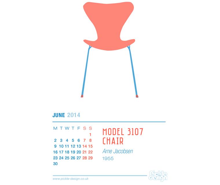June 2014 Calendar featuring Arne Jacobsen's Model 3107 chair
