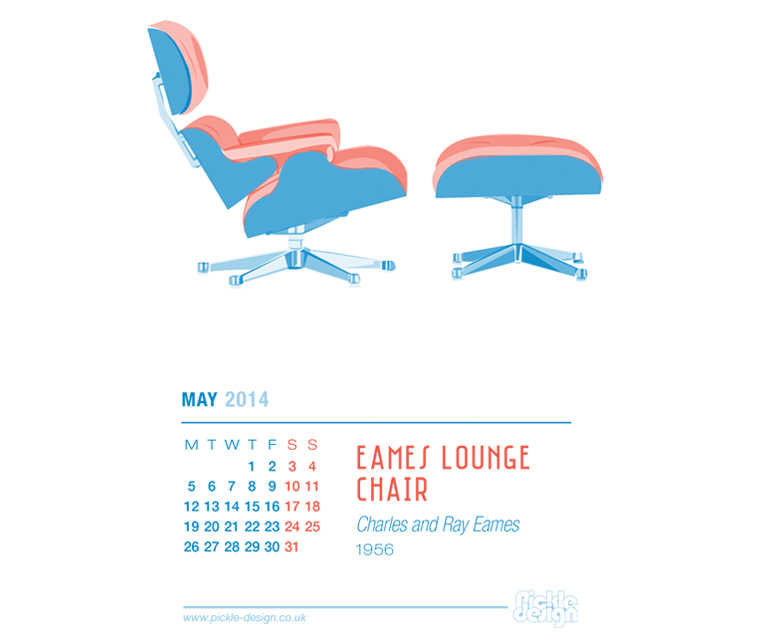 May 2014 Calendar featuring the Eames Lounge Chair and Ottoman