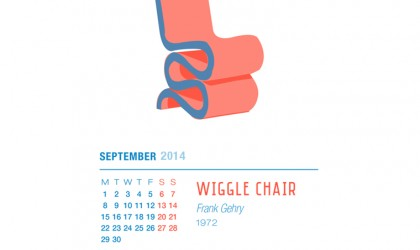 September 2014 Calendar featuring the Wiggle Chair by Frank Gehry