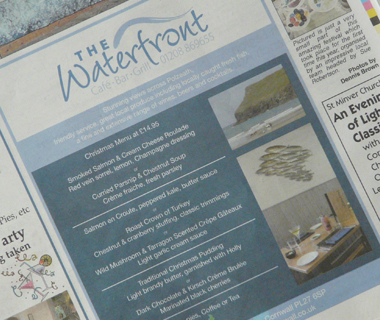 The Waterfront Cafe Bar Advert Design