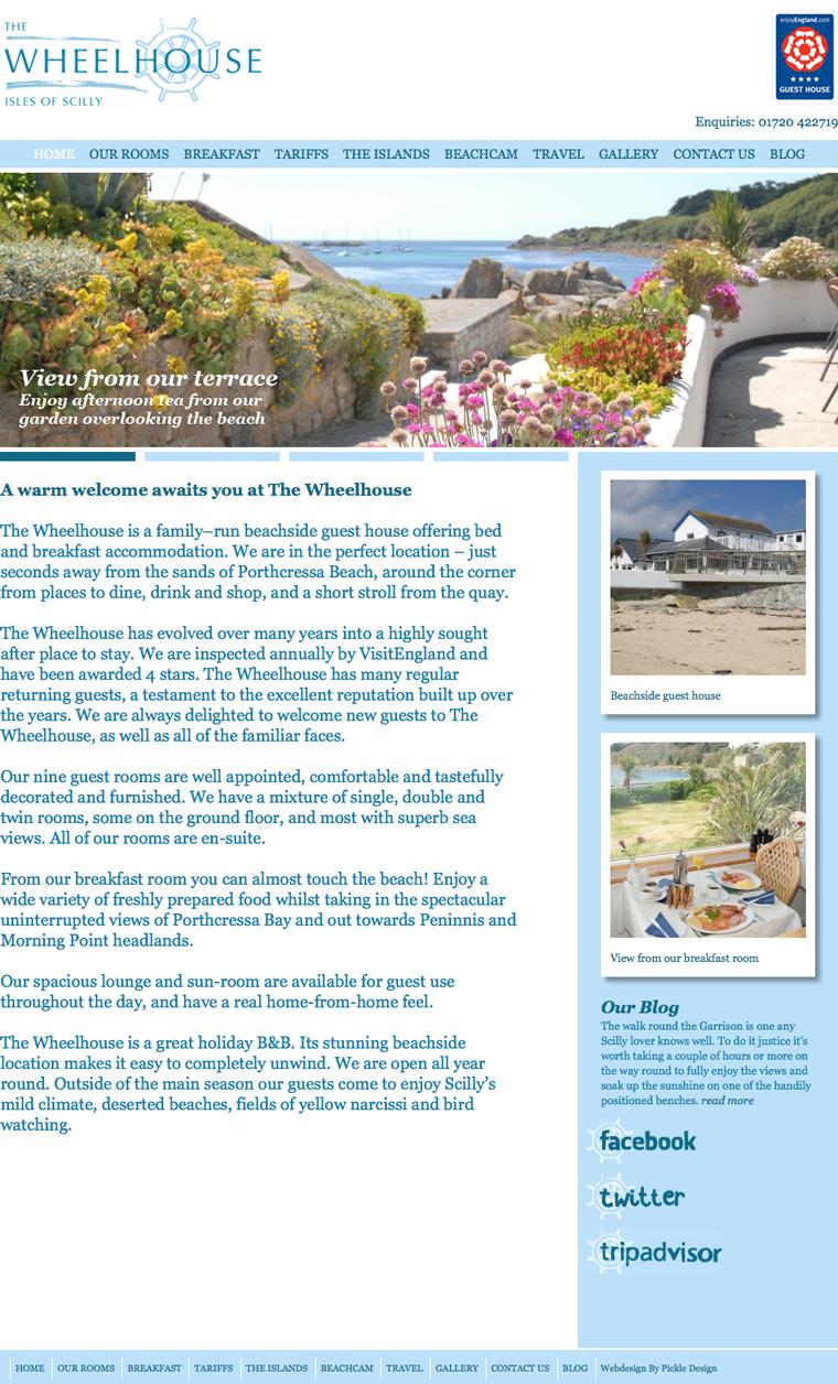 The Wheelhouse Guest House Website