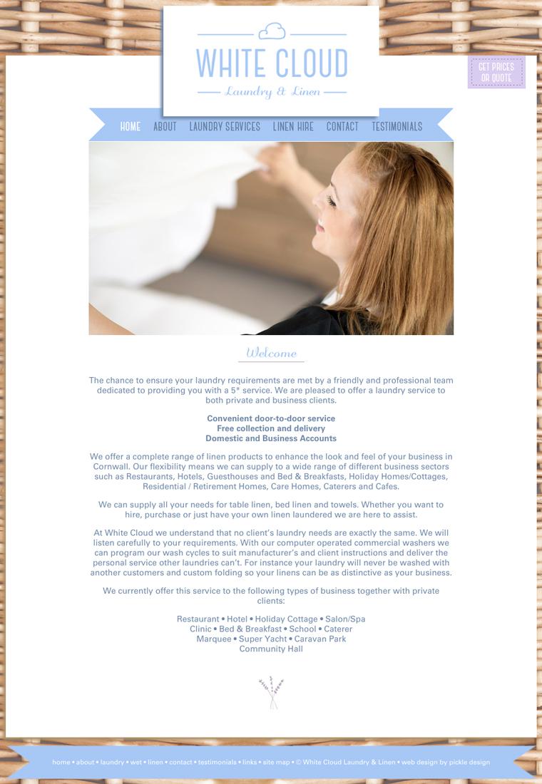 White Cloud Laundry & Linen Website