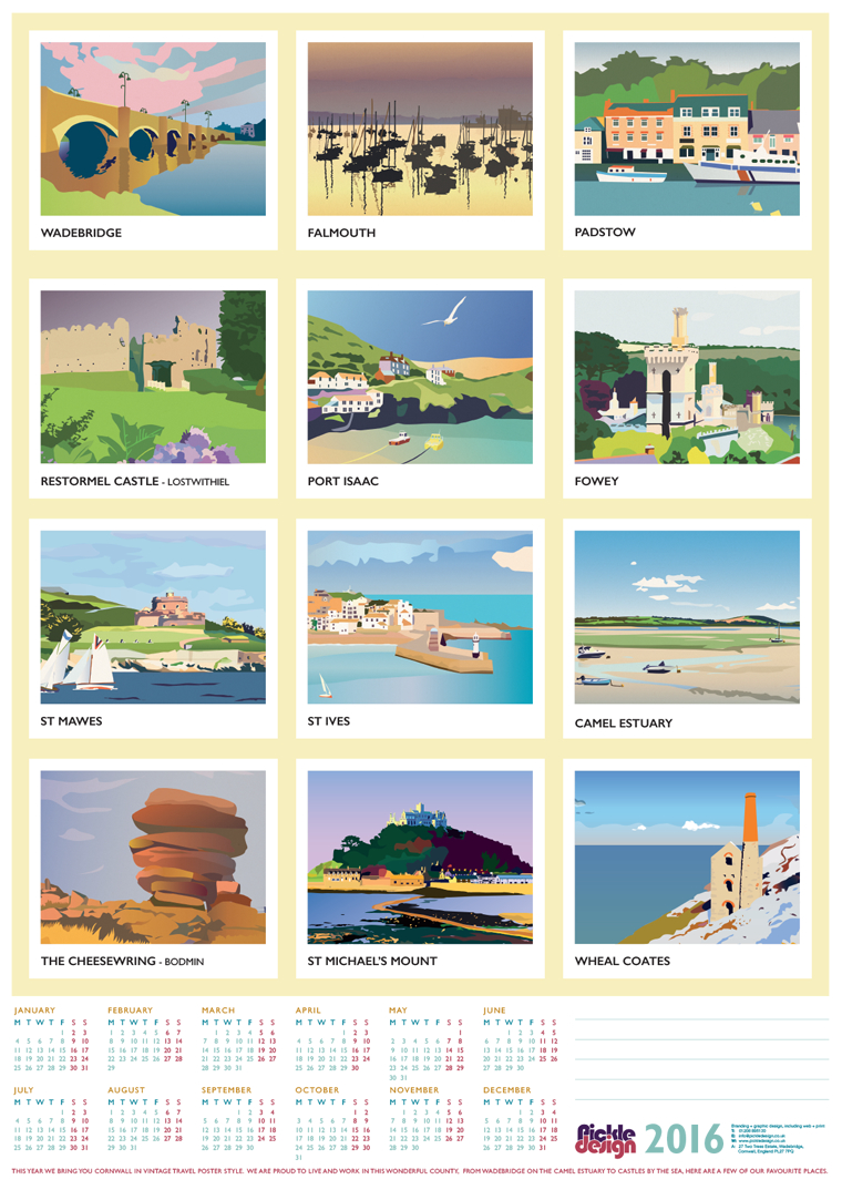 Pickle Design 2016 Calendar of Cornwall