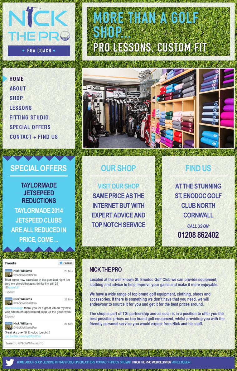 Website design for the Golf Shop at St Enodoc, Nick the Pro