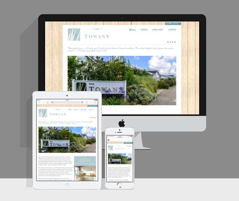The Towans lodges accommodation website with responsive code