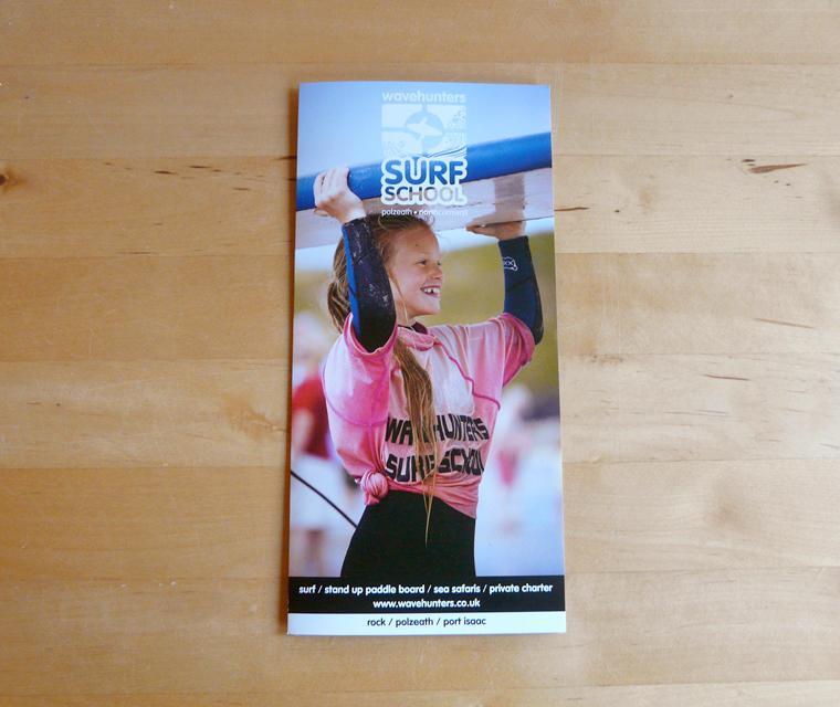 Leaflet design for Wavehunters Surf School