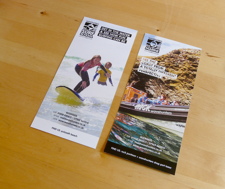 Covers of the Wavehunters Surf School DL flyers