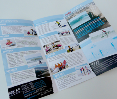 Wavehunters Surf School leaflet centre spread