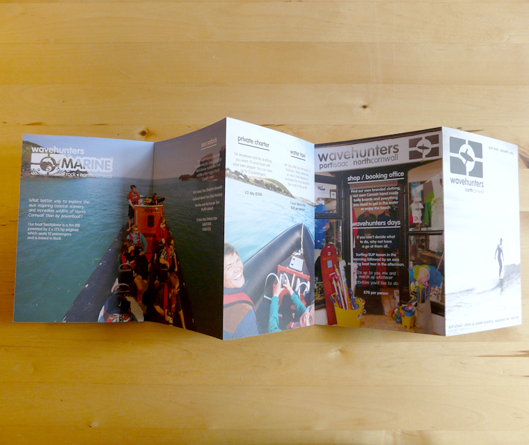 Wavehunters Surf School concertina fold leaflet design