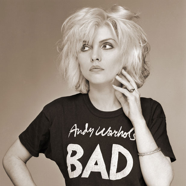 Debbie Harry in Andy Warhol's Bad T-Shirt, Old Street Studio, London, 1979, by Brian Aris