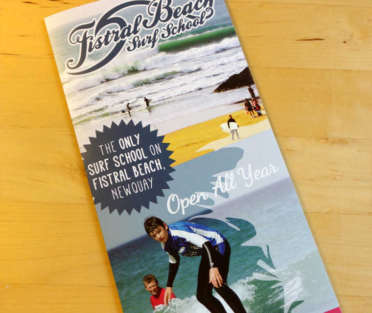 Leaflet design for Fistral Beach Surf School