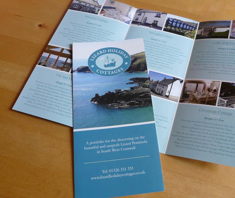 Leaflet design for Lizard Holiday Cottages