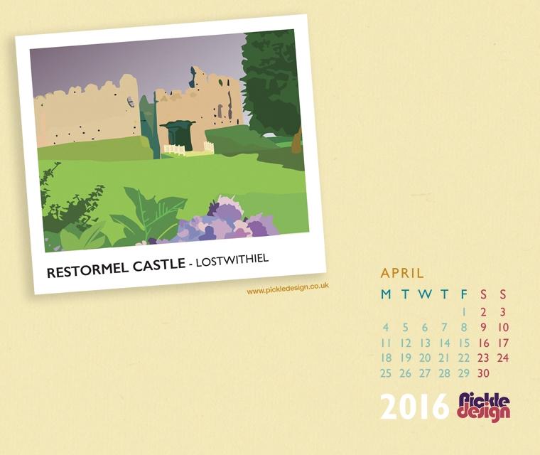 Pickle Design April calendar download of Restormel Castle, Lostwithiel, Cornwall