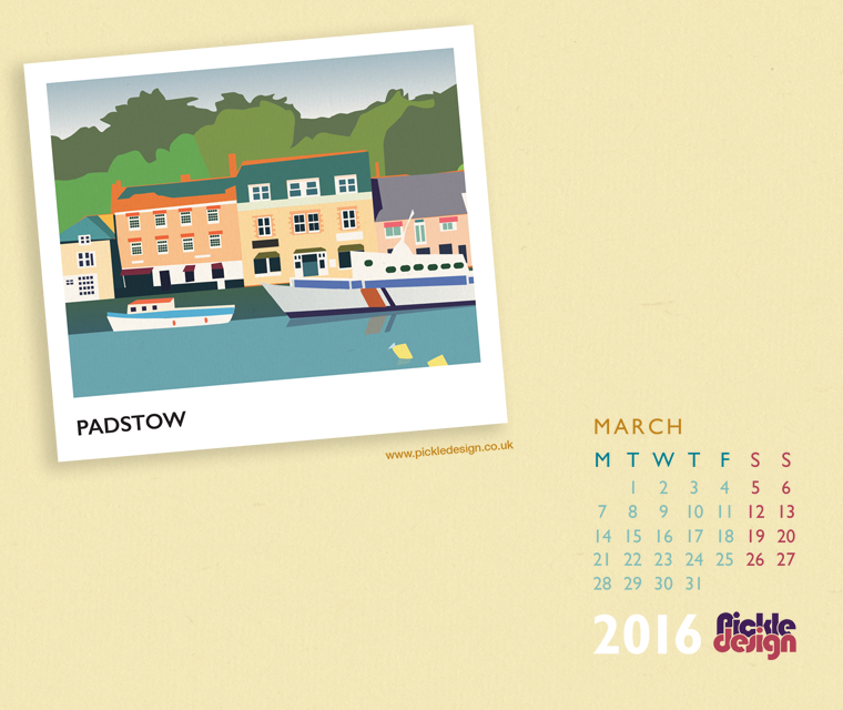 Pickle Design March calendar download of Padstow, Cornwall