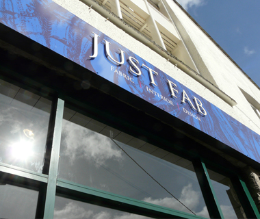 Projected single design for Just Fab Design's shopfront
