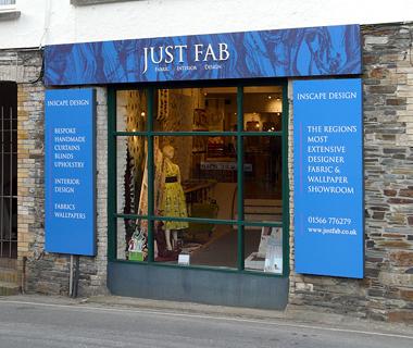 Shopfront signage for Just Fab Design