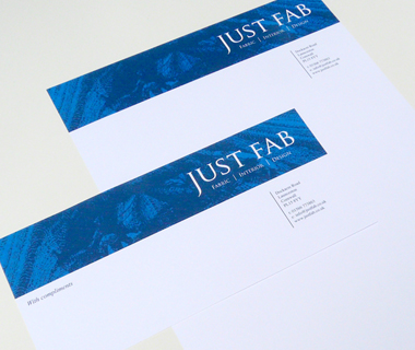 Letterhead and compliment slip design for Just Fab Design