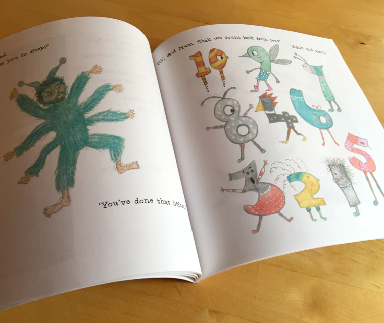 A spread from Joy Manne's children's book, No I Won't Go to Bed, illustrated by Trudi Drewett