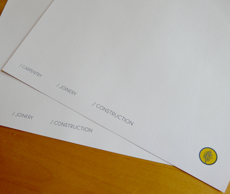 Footer details on the letterhead design for NPW Bespoke carpentry