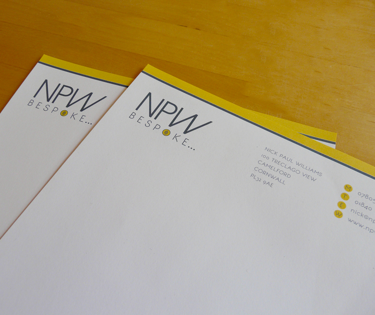 Header details on the letterhead design for NPW Bespoke carpentry