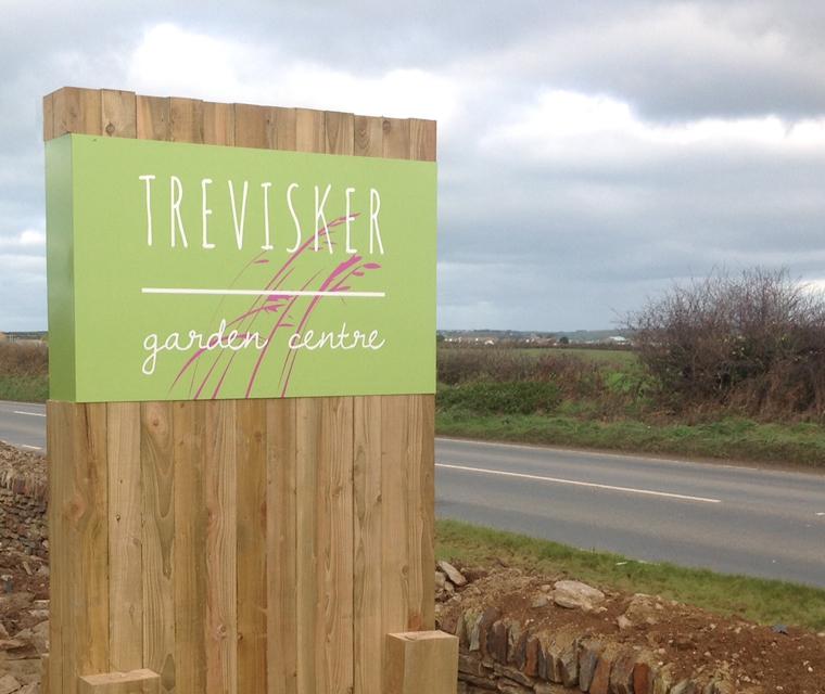 Roadside signage design for Trevisker Garden Centre