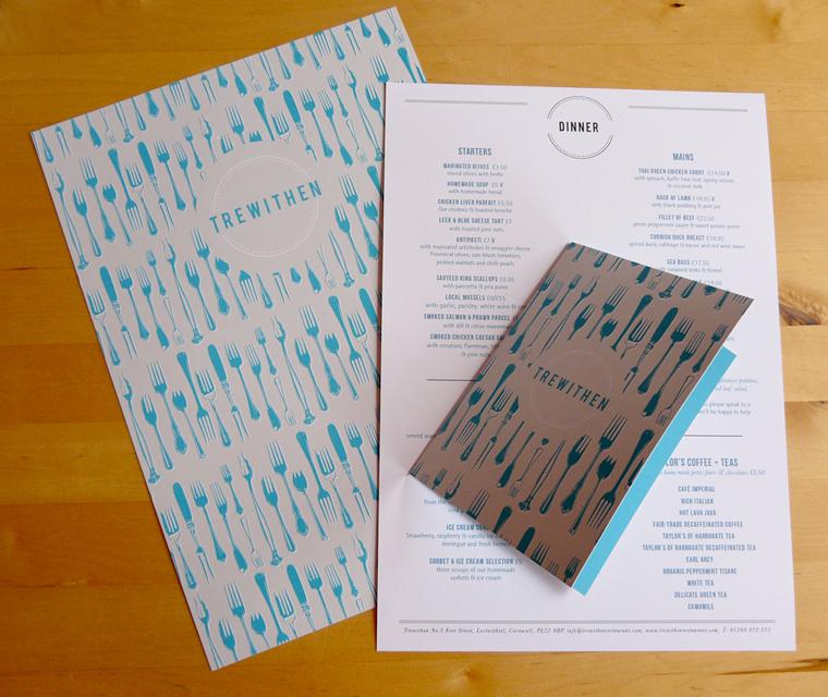 Stationery design for Trewithen Restaurant