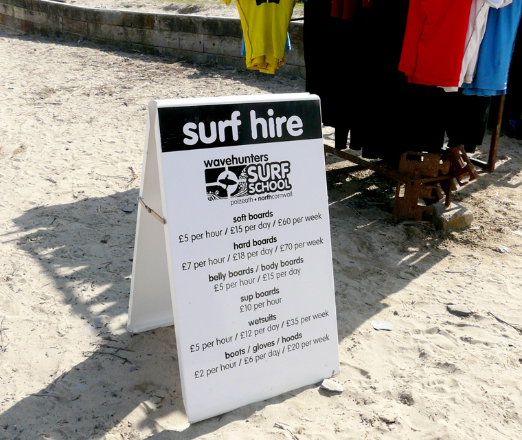 A board design for Wavehunters Surf School at Polzeath Beach