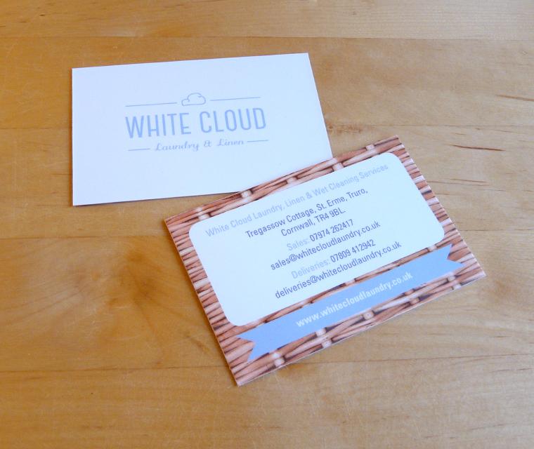 Business card design for White Cloud Laundry & Linen