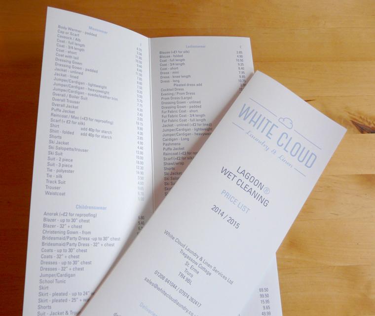 Price list design for White Cloud Laundry & Linen