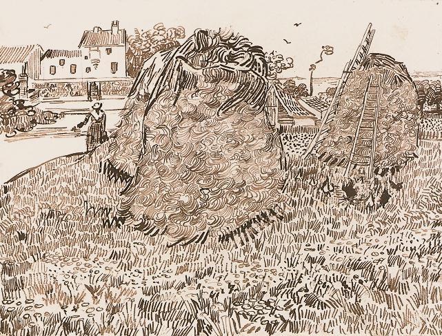Vincent Van Gough's sketch of Haystacks near a farm