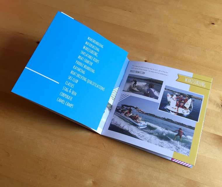 Square brochure with wrap in cyan blue