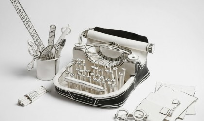 Typewriter sculpture in black and white porcelain by Katharine Morling