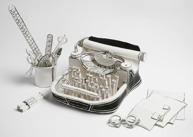Typewriter sculpture in black and white porcelain by Katharine Morling