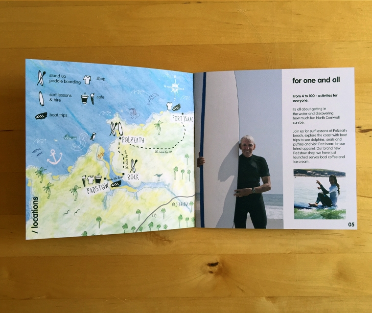 Wavehunters 2016 brochure with hand drawn map