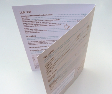 Menu design for Caraways Cafe