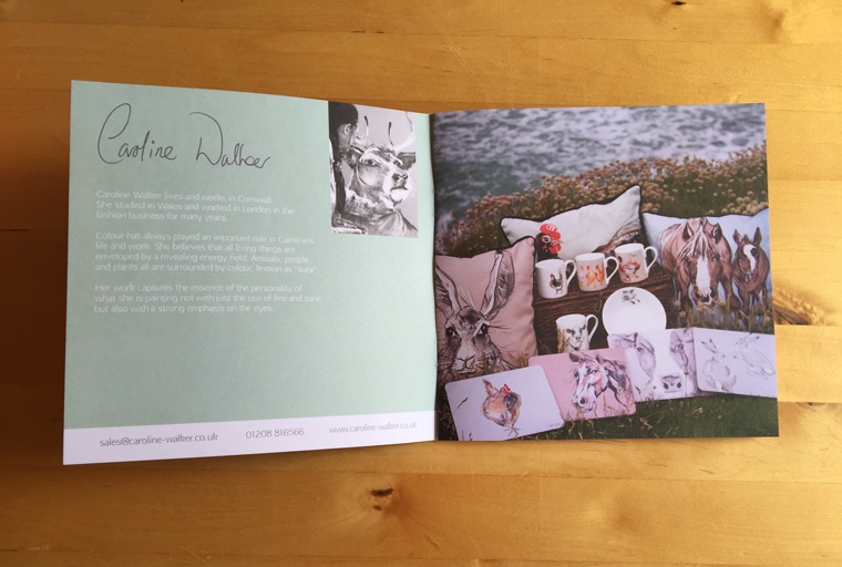 Inside cover spread for the Caroline Walker catalogue