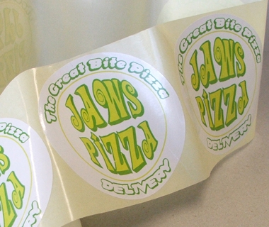 Sticker design for Jaws Pizza Delivery