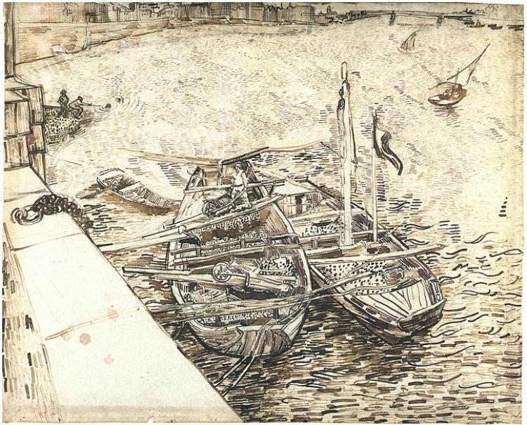 Van Gogh drawing of boats