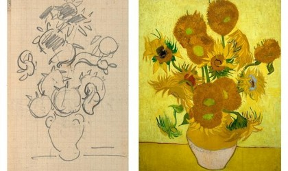 Sunflower sketch and painting by Van Gogh