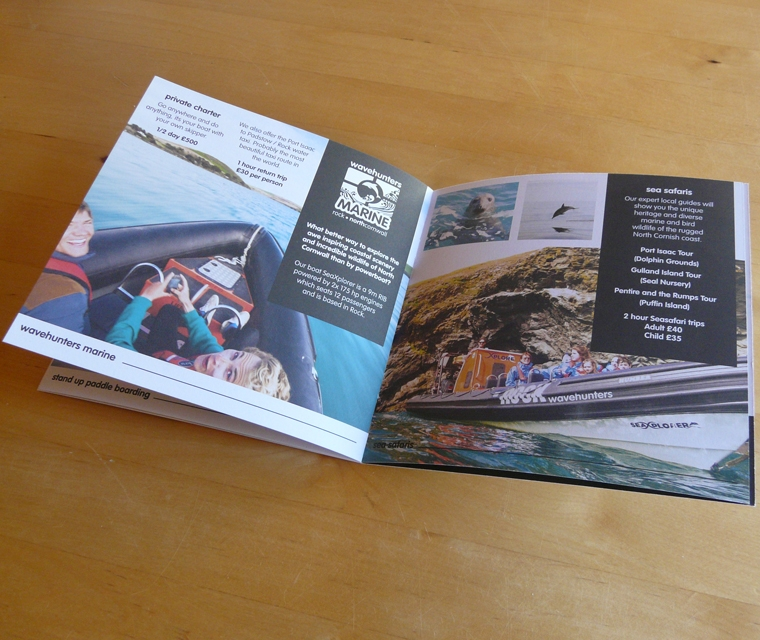 A spread from the Wavehunters Surf School brochure design